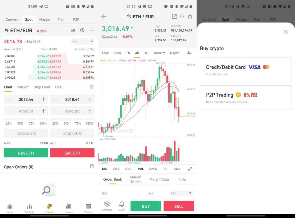 Comprar Ethereum en Binance desde la aplicación