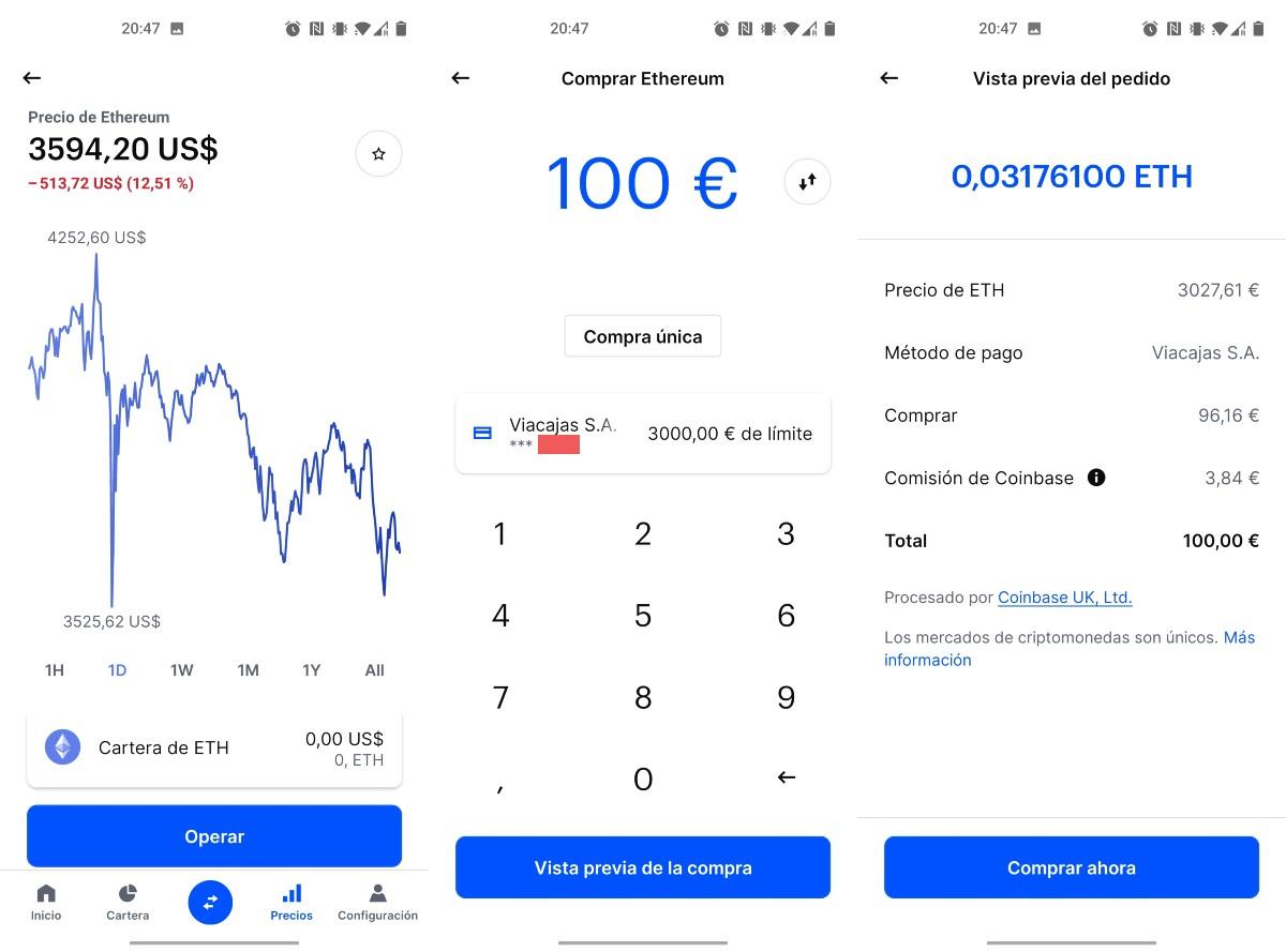 Comprar Ethereum en Coinbase