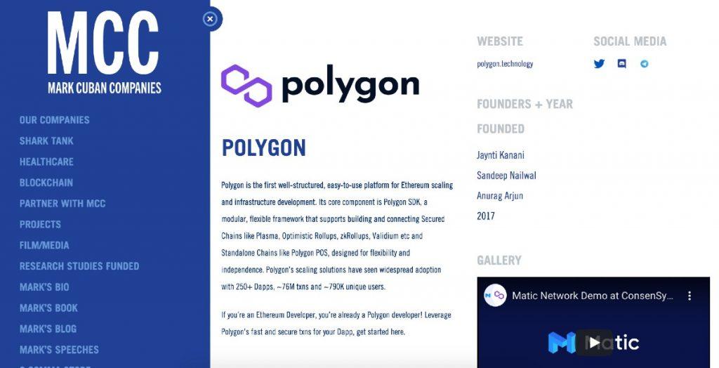 Polygon (MATIC) en la página web de Mark Cuban Companies