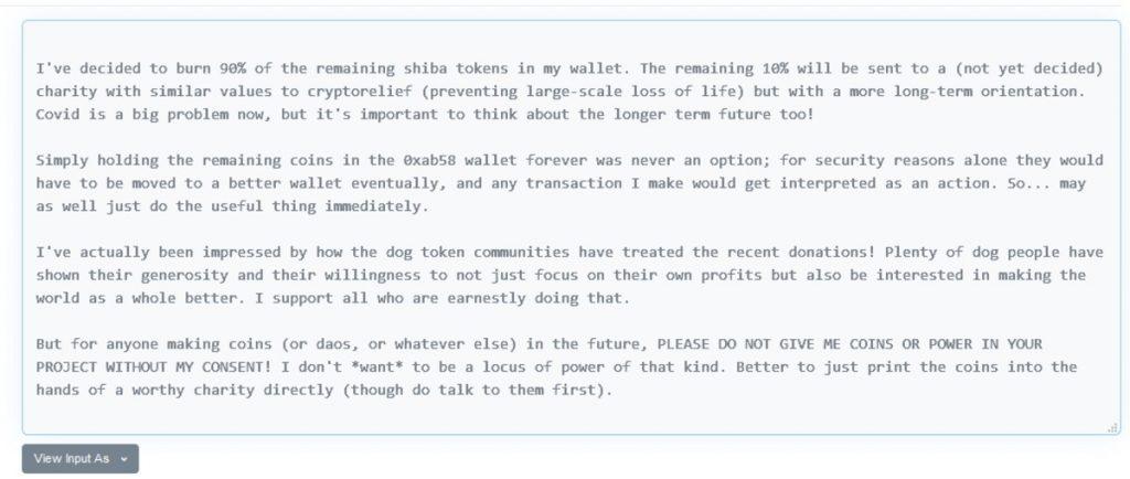 El mensaje de Vitalik Buterin tras quemar el 90% que le quedaba de Shiba Inu (SHIB)