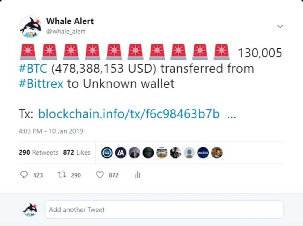 Un tweet de Whale Alert