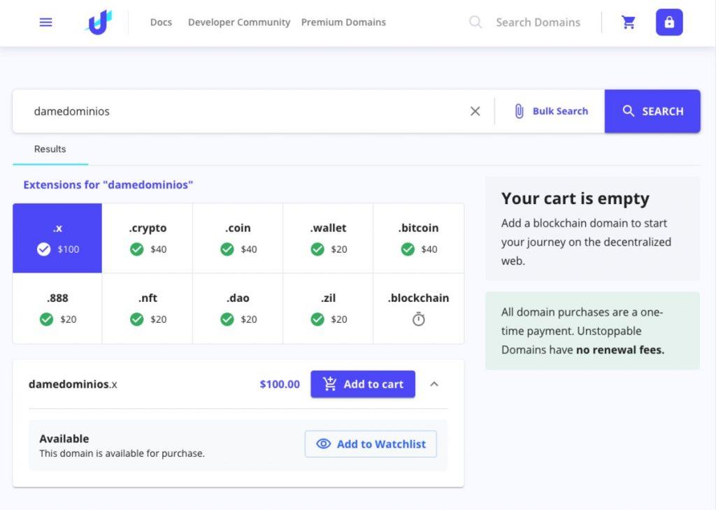 Comprar un dominio en Unstoppable Domains
