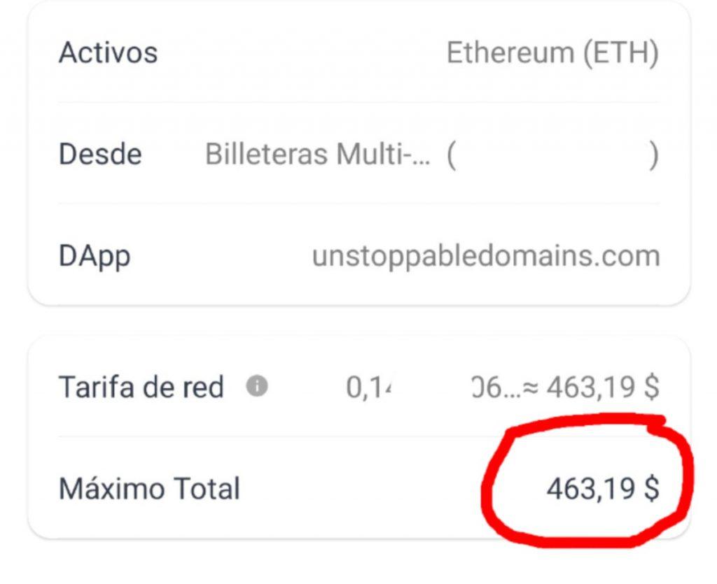 Tarifa de gas de Ether para verificar un dominio .crypto