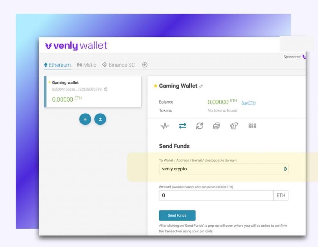 Venly Wallet ahora permite envío a direcciones de Unstoppable Domains