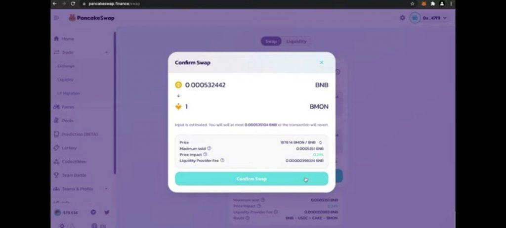 Haciendo swap por tokens de Binamon (BMON) en PancakeSwap