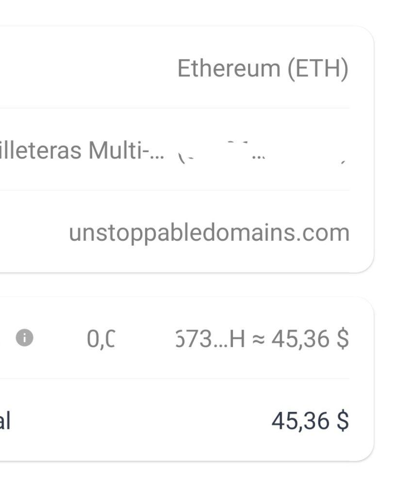 Tarifa de red Ether para verificar un dominio .crypto